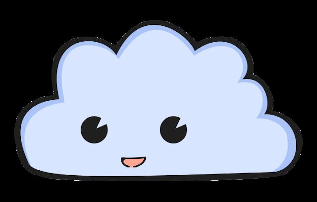 Nuvem fofinha desenho colorido com fundo transparente