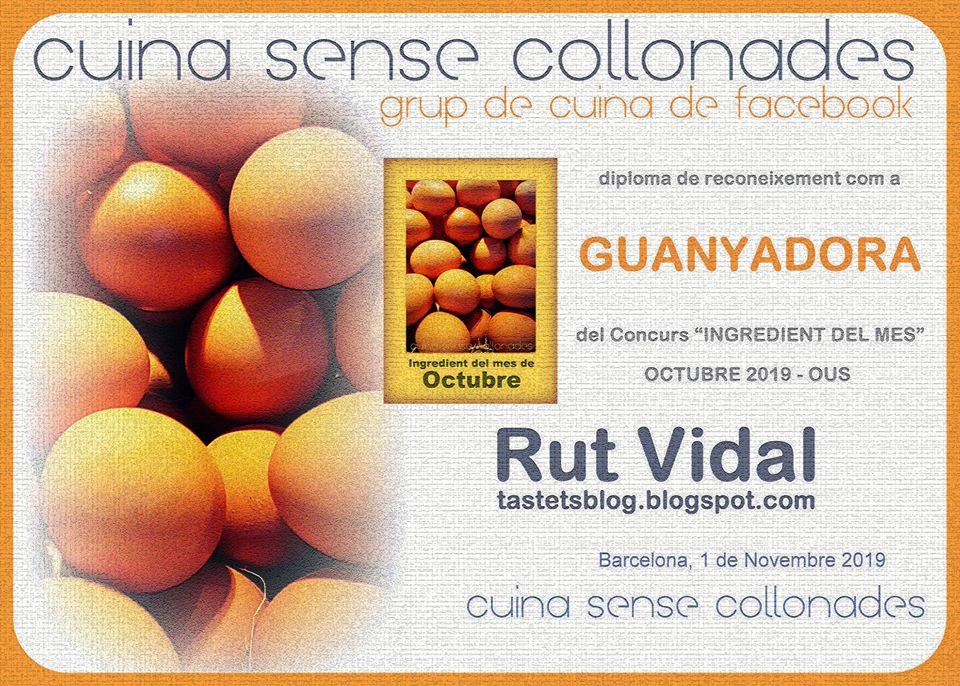 """Guanyadora del concurs """"Ingredient del mes, ous"""" de Cuina sense collonades, octubre 2019"""