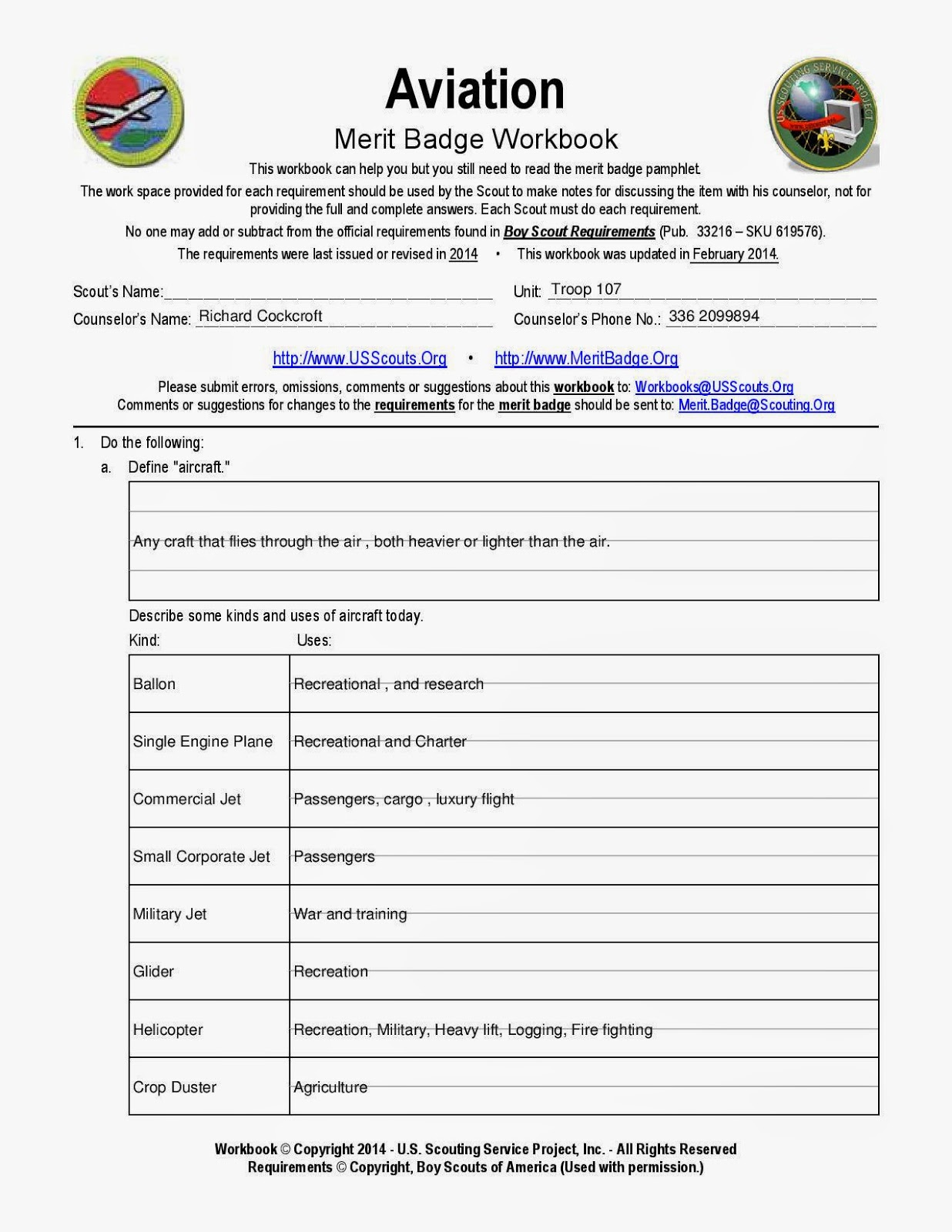 Printables Boy Scout Merit Badge Worksheets boy scout troop 107 greensboro nc aviation merit badge workbook workbook