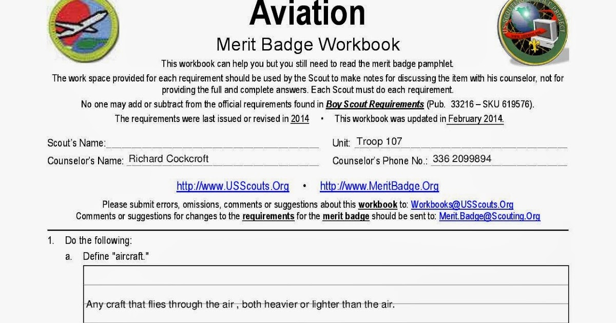 Boy Scout Troop 107 Greensboro NC Aviation Merit Badge workbook – Golf Merit Badge Worksheet