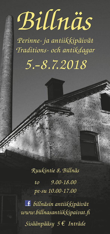 Kesällä 2018 Billnäsin perinne- ja antiikkinpäivät