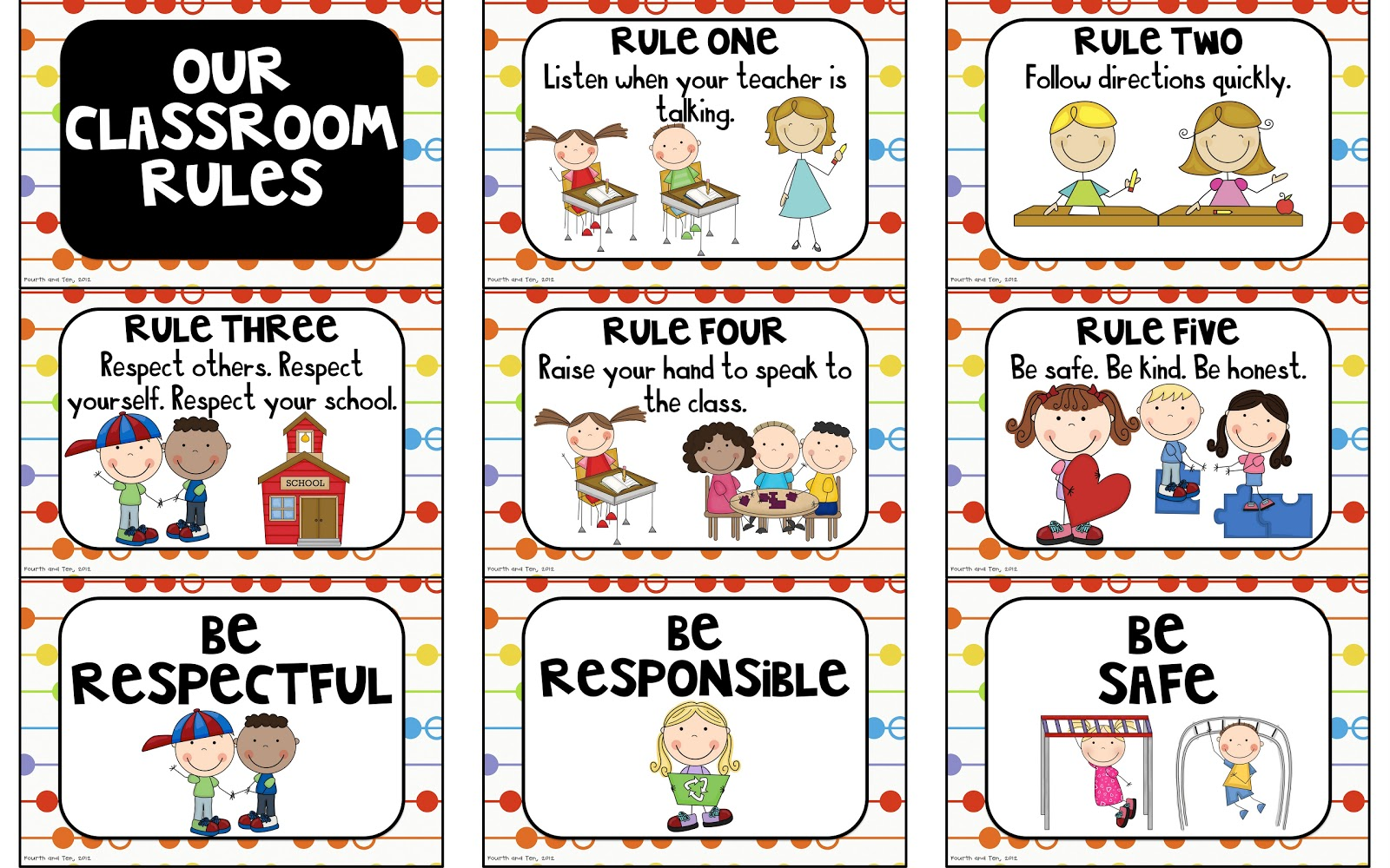 Fourth And Ten Rules Behavior Expectation Freebies