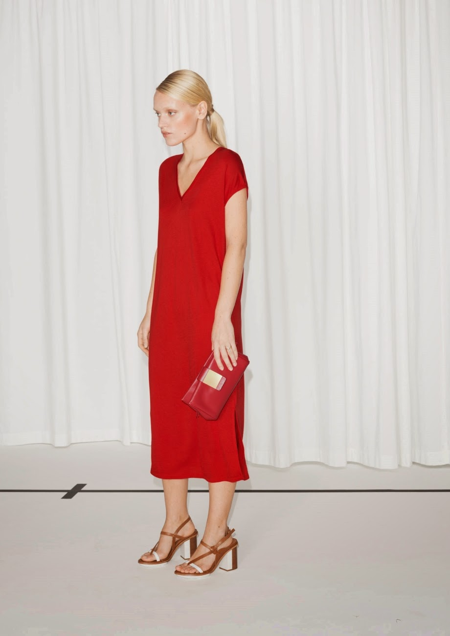 red v neck dress, stories red midi dress,