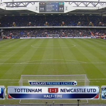 نتهاء الشوط الأول توتنهام هوتسبير 1 - 1 نيوكاسل يونايتد 9-2-2013