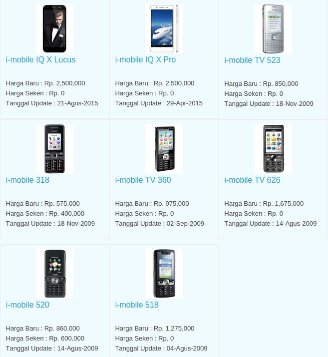 Daftar Harga Hp I-Mobile November 2015