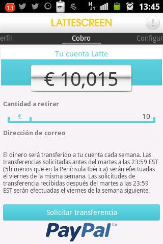 Se puede ver como acabo de conseguir 10€ en Lattescreen