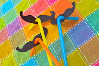 silly mustache straw craft
