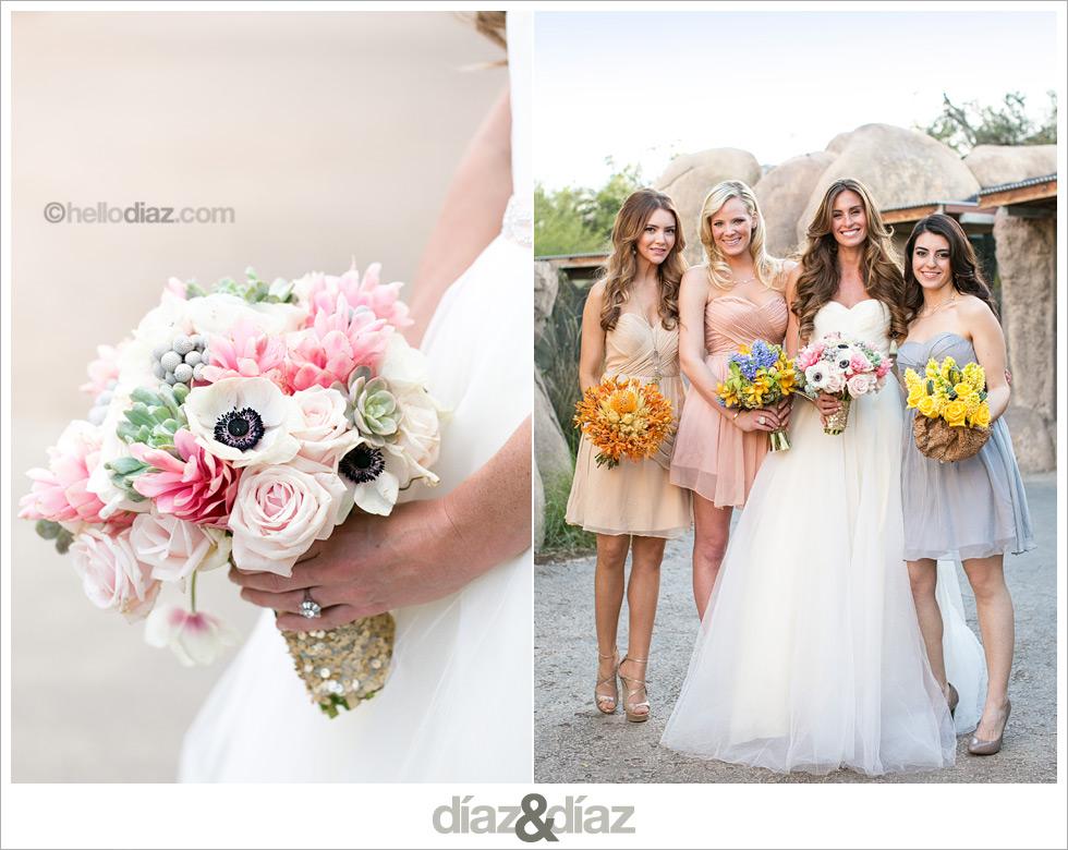 Ramo de novia con ginger lily, anemonas, suculenta, rosa, brunia
