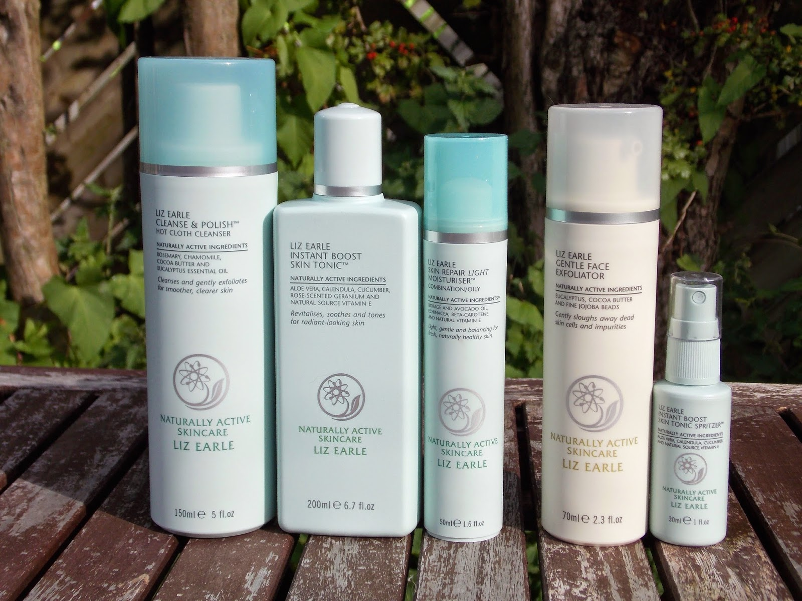 Liz Earle Cleanse and Polish Hot Cloth Cleanser, Liz Earle Instant Boost Skin Tonic, Liz Earle Skin Repair Moisturiser, Liz Earle Gentle Face Exfoliator