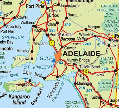 Mapa ra região de Adelaide – Austrália