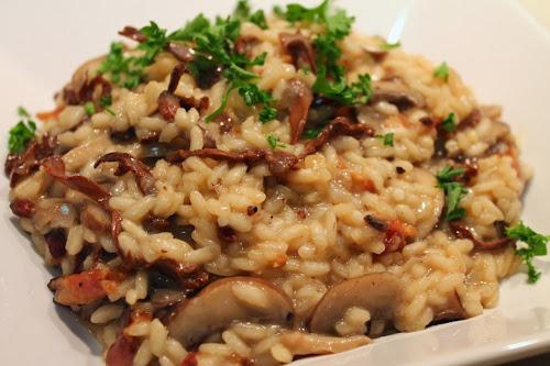 Mushroom-bacon risotto