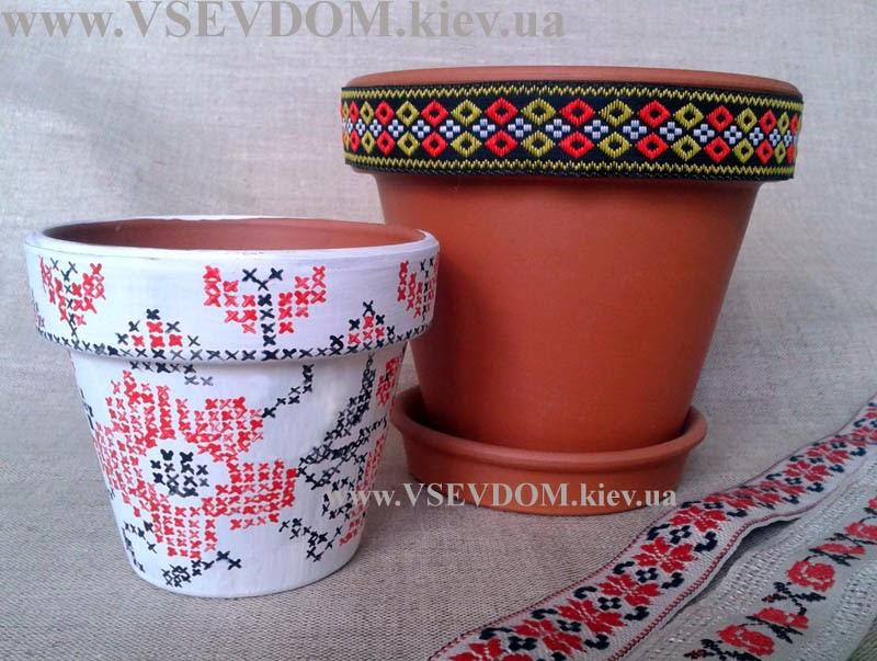 декор горшков своими руками: украинские мотивы