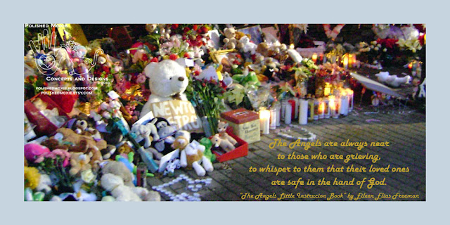 Image of Sandy Hook memorial with angel quote.
