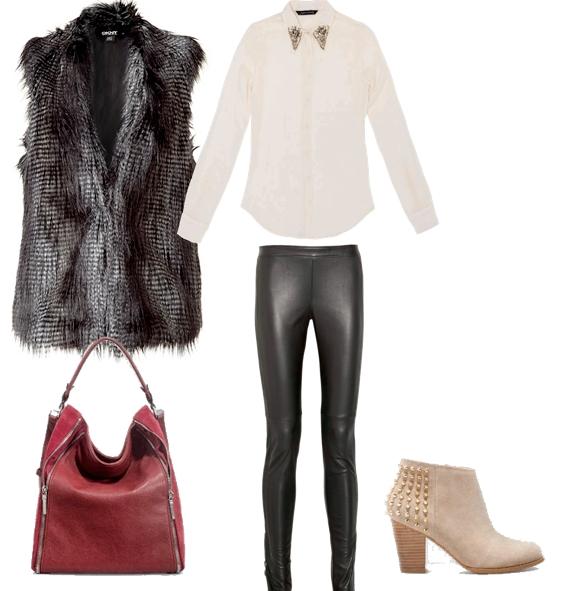 outfit con chaleco de pelo