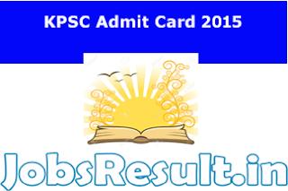 KPSC Admit Card 2015