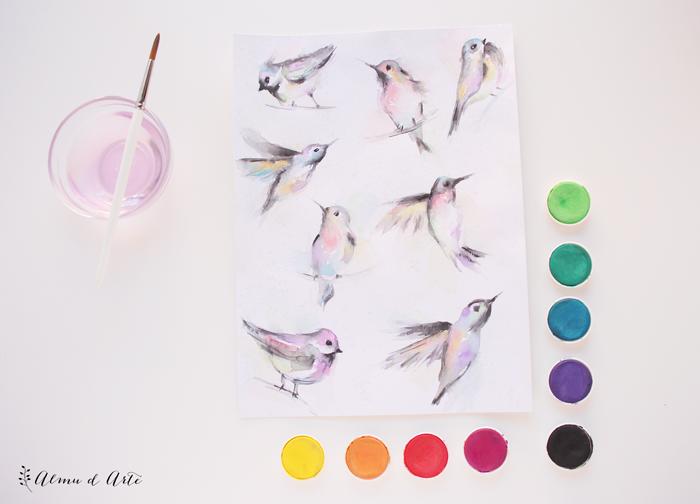 Ilustraciones de pájaros de acuarela
