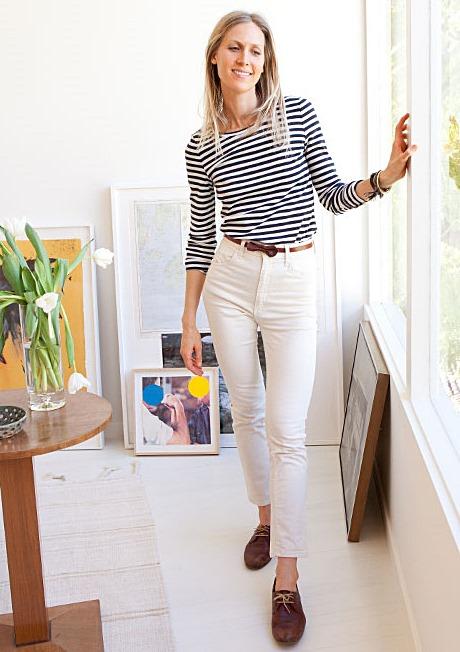 Jessica de Ruiter breton shirt, brogues, white jeans