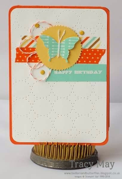 Stampin' Up! Uk independent demonstrator card making ideas Washi tape butterfly card