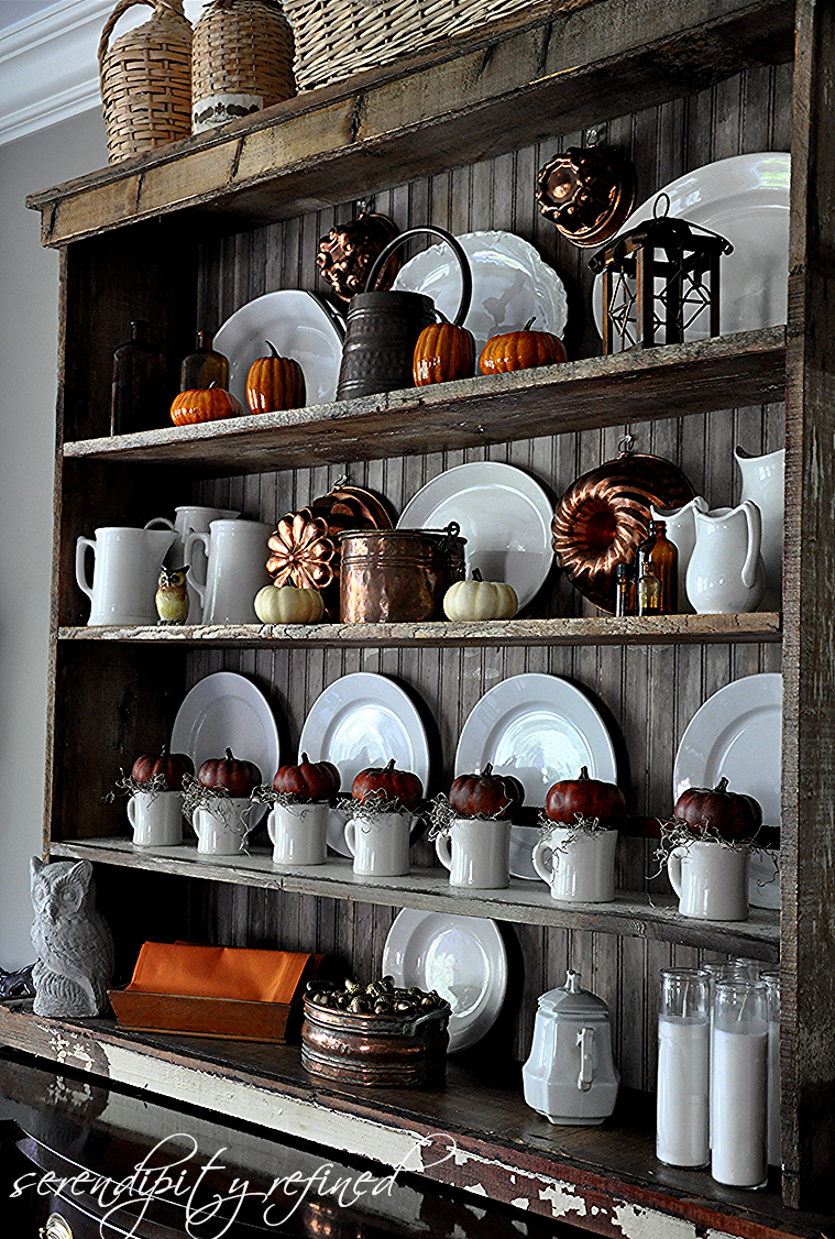 Serendipity refined blog pumpkins ironstone and copper for Hutch decor