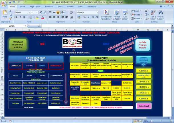 Aplikasi SPJ BOS SD SMP MI MTs SMA SMK MA Format Microsoft Excel