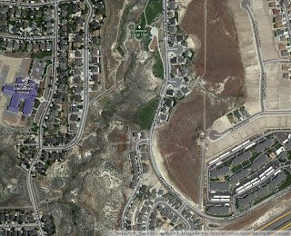 An aerial view of Robb Canyon and Rainbow Ridge Park in Reno, Nevada