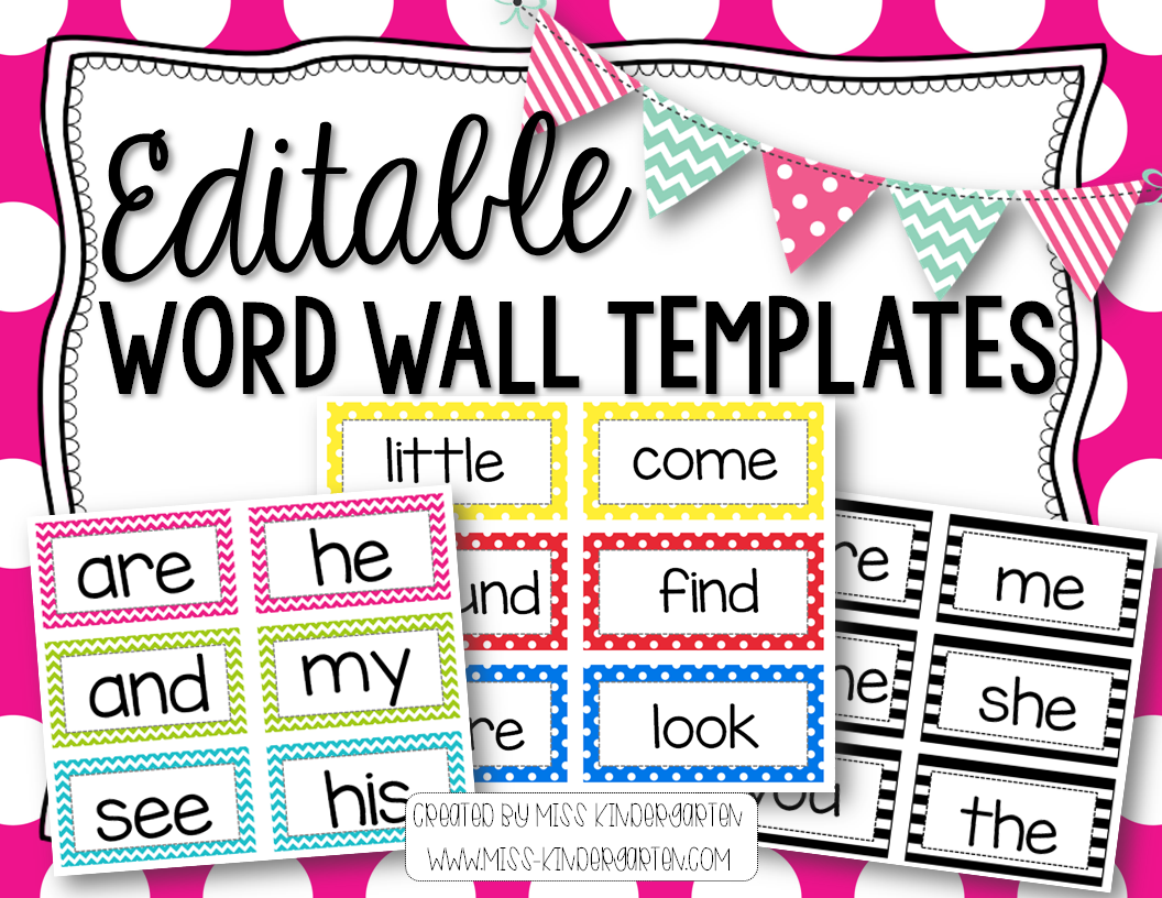 Editable word wall templates miss kindergarten for Blank word wall template free