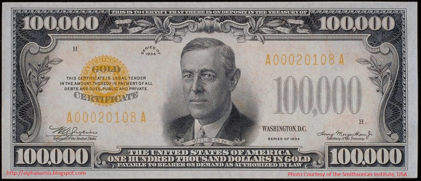 Numismatica banknote coin collecting illegal to own the 1934 1 us 100000 gold certificate 1934 series obverse xflitez Choice Image