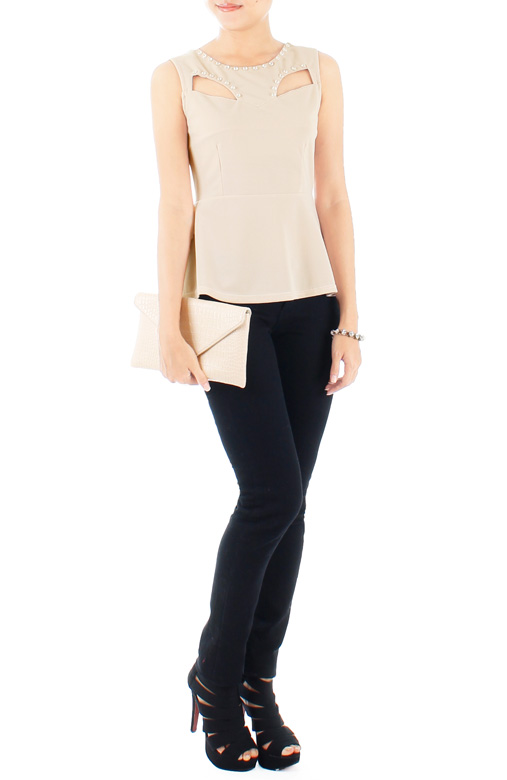 Diamonds Are Forever Peplum Blouse – Ivory