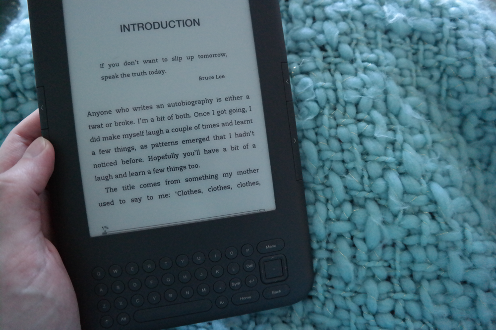Introduction to Viv Albertine's autobiography, Clothes Clothes Clothes, with a quote from Bruce Lee. Viewed on a Kindle.