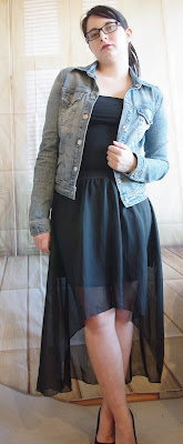 Black Vokuhila Skirt & Jeans Jacket