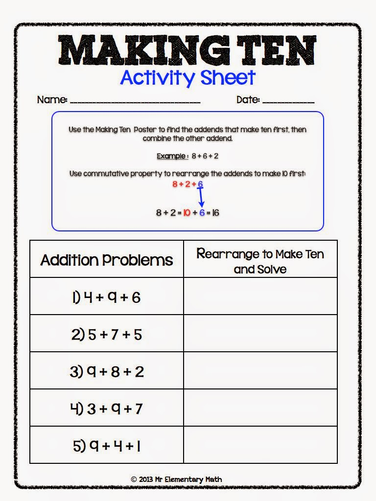 Classroom Freebies Too Making Tens Poster Kit – Making Ten Worksheets