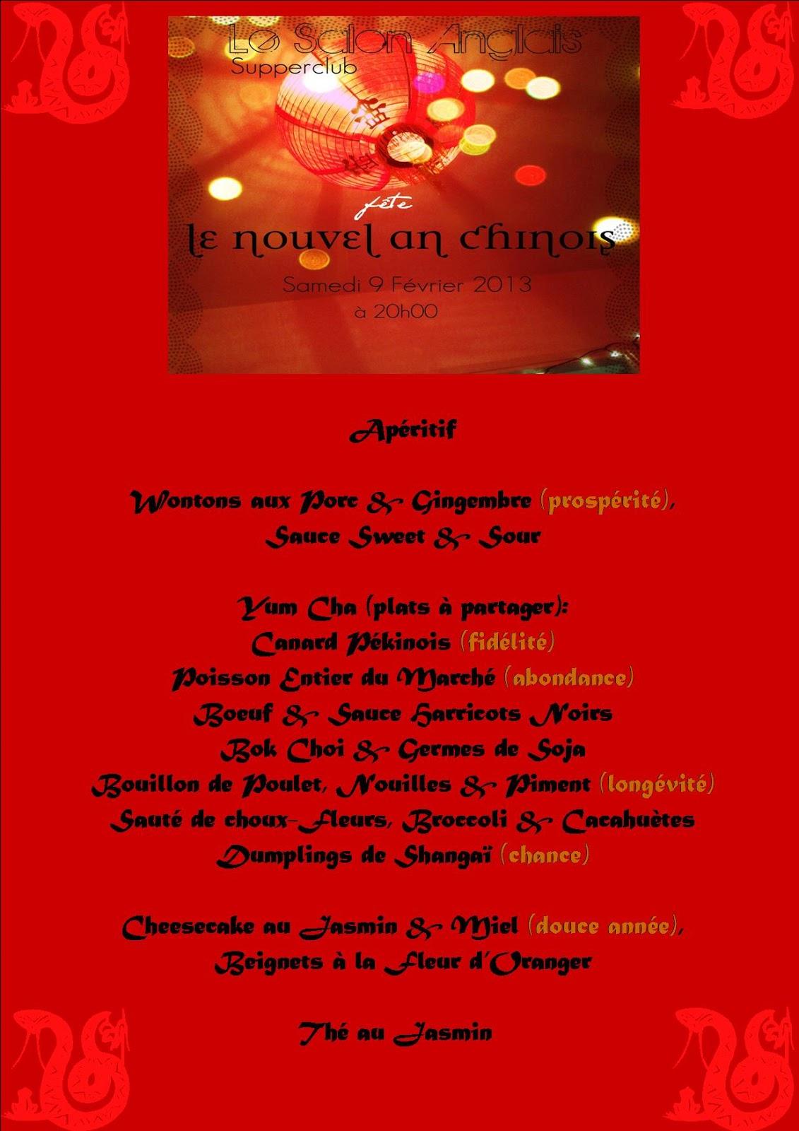 Le salon anglais menu du r veillon de l 39 an chinois for Set de table anglais