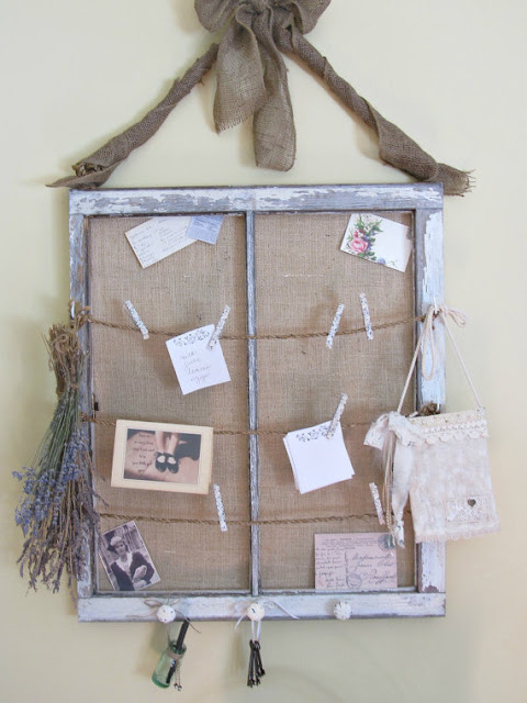 Rustic burlap window