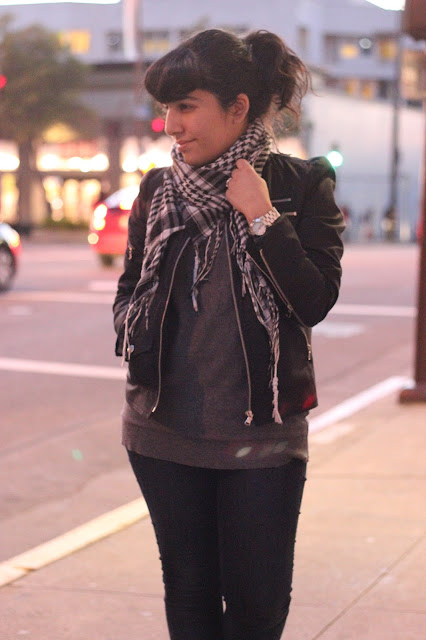 Black and White Scarf, Jacket, and Jeans
