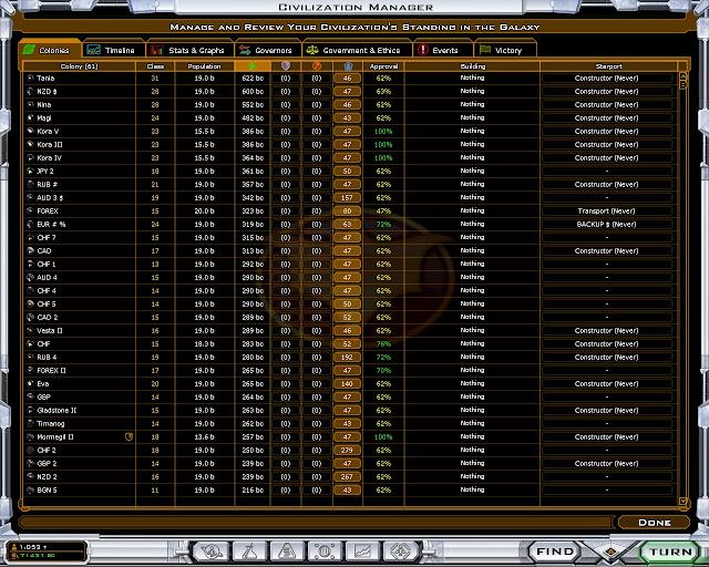 Galactic Civilizations 2 - Colony Tab Screenshot