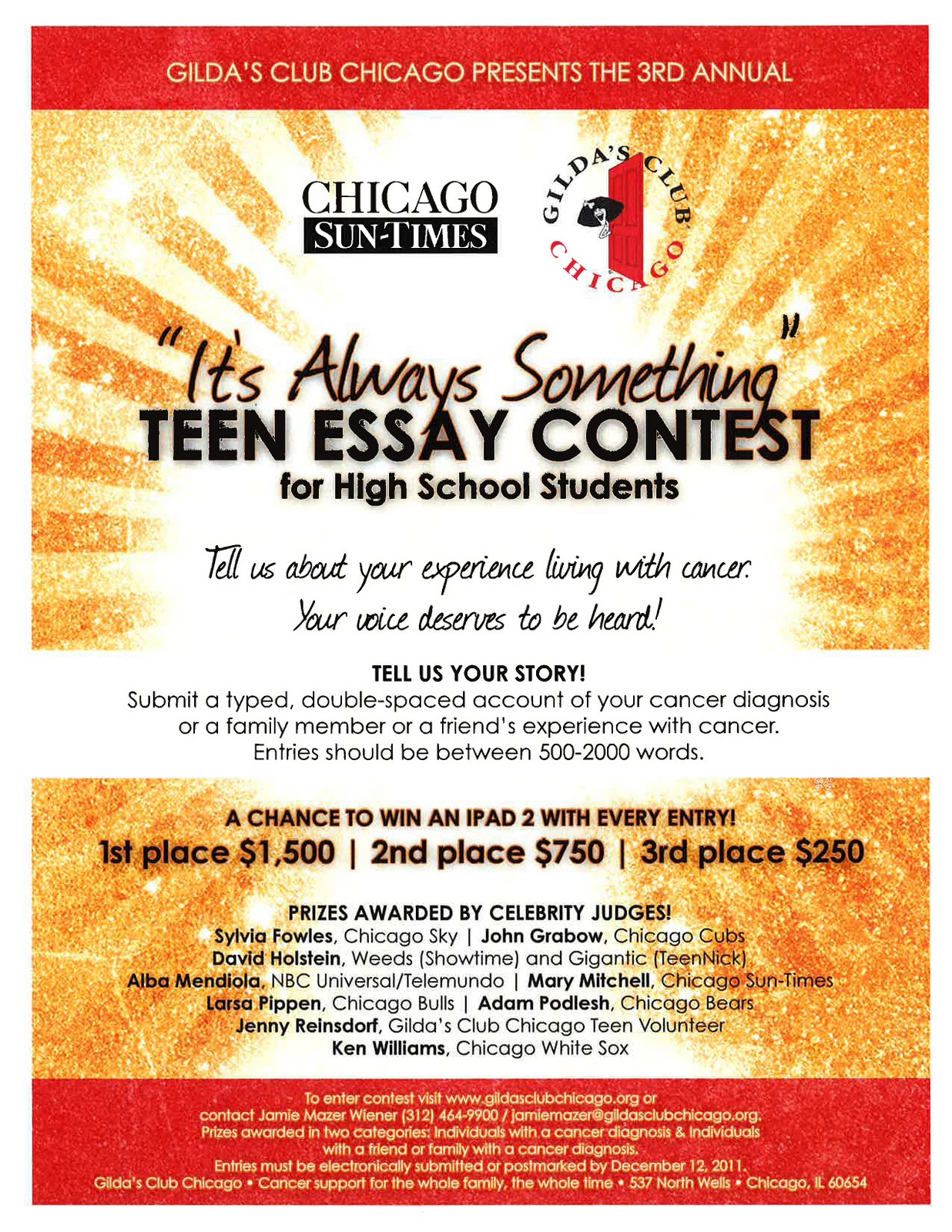 gilda s blah blah blog one last call to action here we are looking for high school students a story to share it s always something teen essay contest begins now