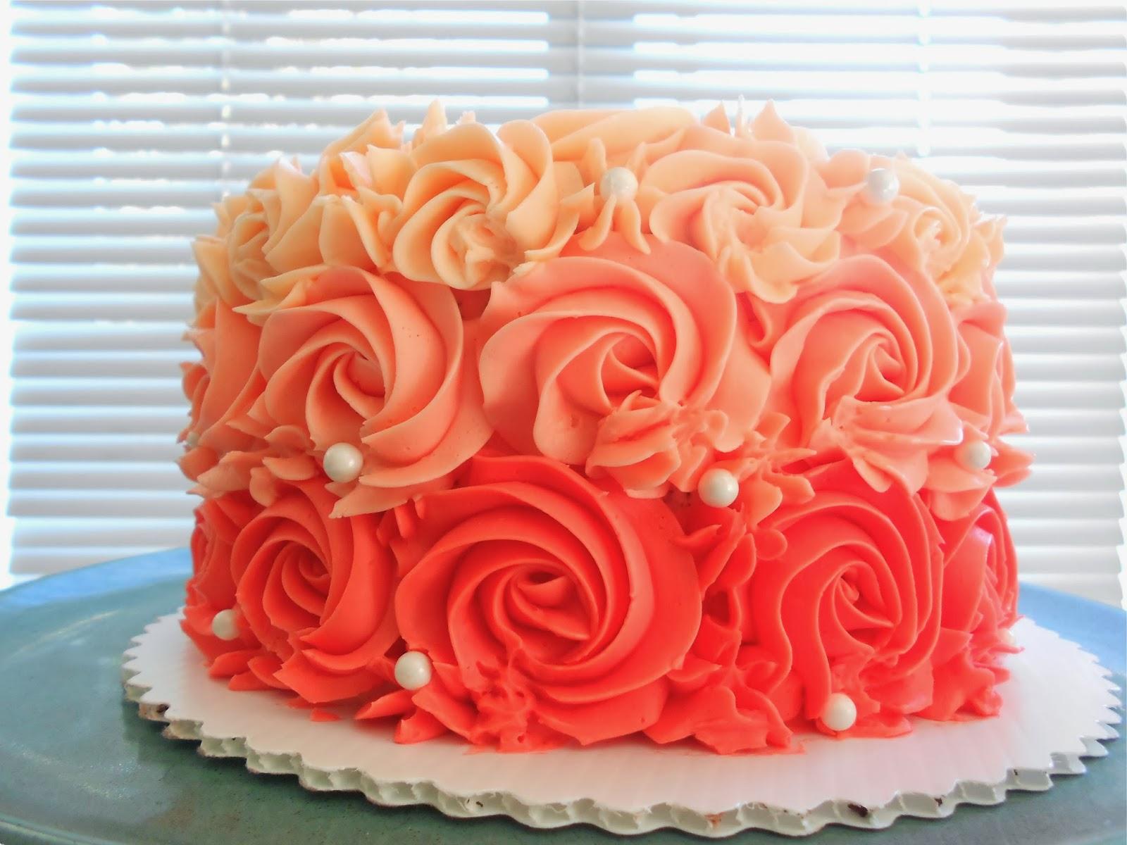 Custom Cakes By Lori 60th Ruffled Rose Birthday Cake Ombre Style