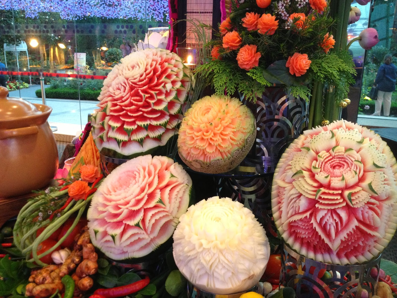 Fruit carving in Orange Clove's Thai Buffet Catering Spread
