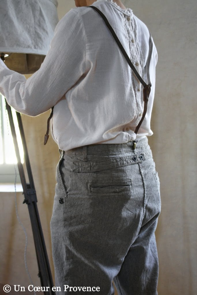 Grandfather-style trousers with braces