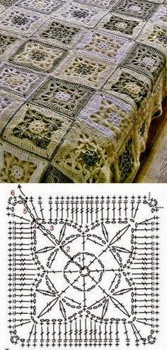Manta realizada con grannys al crochet