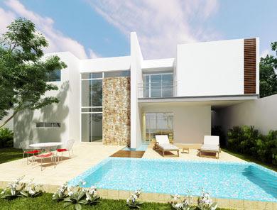 Fachadas de casas modernas terraza trasera de casa for Casa minimalista con alberca