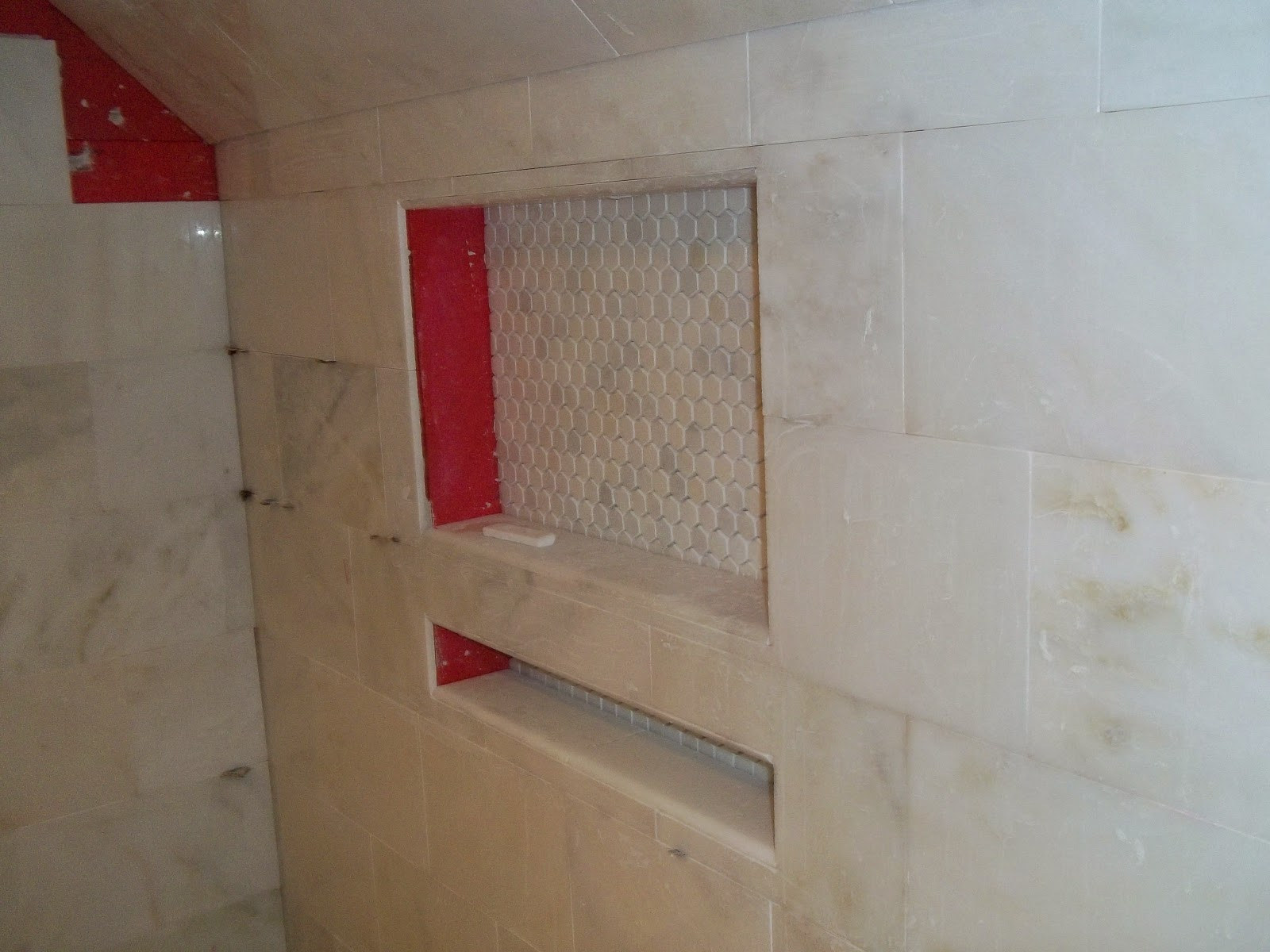 Shower Wall Box Inserts Prior To Bullnose Tile Installation