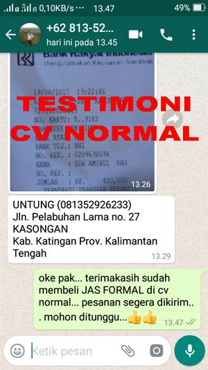TESTIMONI PEMBELIAN JAS PENGANTIN/FORMAL CV NORMAL