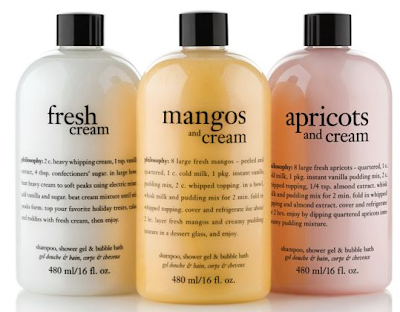 Philosophy, Philosophy Milestones, Philosophy Milestones QVC, Philosophy Fresh Fruit And Cream Gel Trio, Philosophy Apricots And Cream, Philosophy Fresh Cream, Philosophy Mangos And Cream, Philosophy body wash, Philosophy shower gel, Philosophy bubble bath, Philosophy shampoo, body wash, shower gel, shampoo, bubble bath