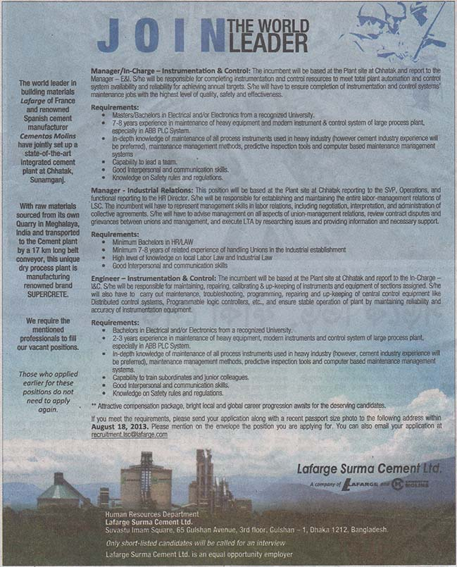lafarge surma cement Found the document has moved here.