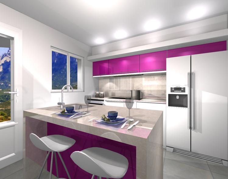 Muebles de cocina con azulejos beige
