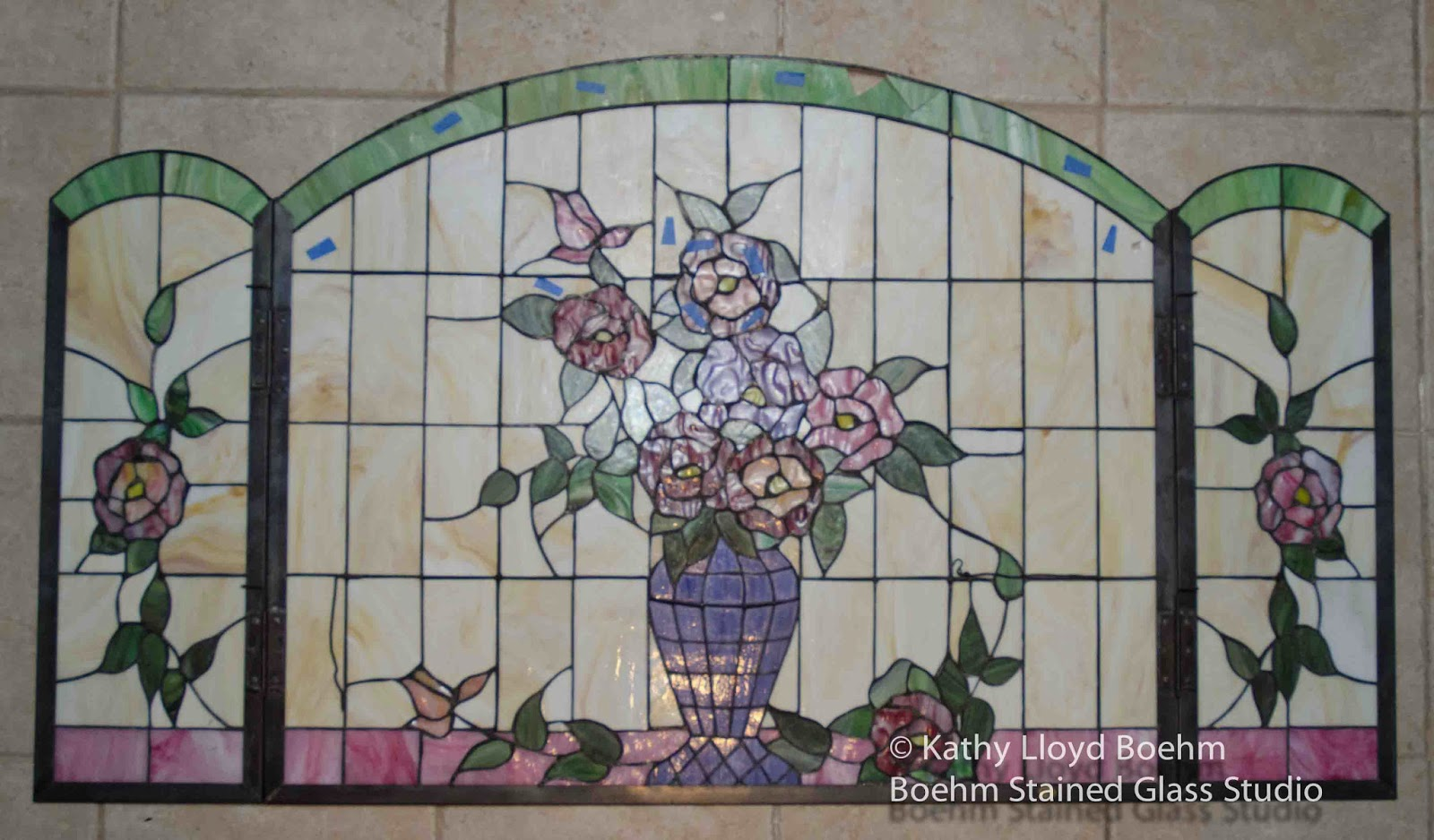 Boehm Stained Glass Blog Vase Of Flowers Stained Glass Fire Screen