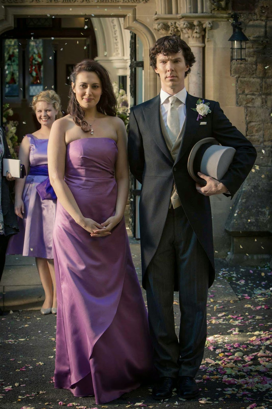 Benedict Cumberbatch as best man Sherlock and Yasmine Akram as Janine the bridesmaid in BBC Sherlock Season 3 Episode 2 The Sign of Three