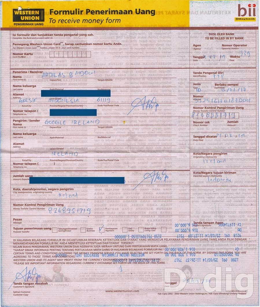 Form Penerimaan Uang - Cara Ambil Uang Google Adsense Via Western Union di BII
