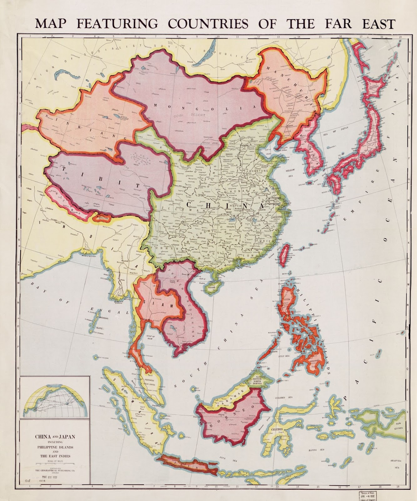 Map featuring countries of the far East (1932)